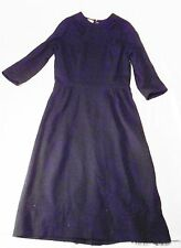 Vtg Women's Black Goth Dress Cocktail Funeral Puritan Squires Lawton 1960s M