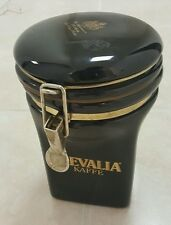 Black Ceramic Gevalia Kaffe Coffee Holder Canister Container Jar w/Spoon