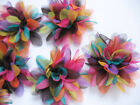 "10 pcs 2.5"" Rainbow Stripe 4D Flower D007"
