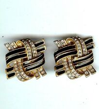 VINTAGE SIGNED OSCAR DE LA RENTA EARRINGS BLACK ENAMEL & RHINESTONE  CLIP