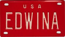 VINTAGE MINI USA EDWINA LICENSE PLATE NAME TAG SIGN BICYCLE VANITY  (P12)