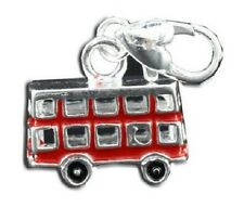 SILVER FINISH RED LONDON BUS CLIP ON CHARM
