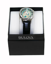 Bulova 96A155 Space view Accutron II Stainless Steel Black Leather Band.