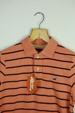VINTAGE HOLLISTER MENS POLO SHIRT SMALL FESTIVAL SURFER STRIPED ORANGE SLIM P43