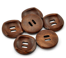 """10 Rich Brown Modern Design Wooden Buttons 25mm(1"""") Sewing  craft Free P&P"""