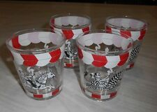 4 - 6 oz Red, White & Clearn Glass Circus Zebra / Horse Carousel Glasses  estate