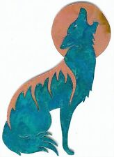 """COPPERCUTTS Coyote with Moon Wall Plaque 5"""" x 8"""" Rustic SouthWest Copper & Wood"""