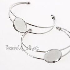10x Rhodium Plated Copper Jewelry Bangle Bracelets Findings Charms Fit DIY BS