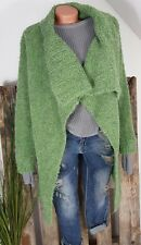 NEU KNIT WEAR ITALY GROBSTRICK  BOUCLE LONG JACKE MANTEL CARDIGAN GRÜN 38-44