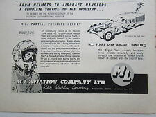 4/1962 PUB ML PARTIAL PRESSURE HELMET CASQUE PILOTE / FLIGHT DECK HANDLER AD