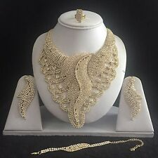 GOLD CLEAR DIAMONTE JEWELRY NECKLACE EARRING RING BRACELET SET RHINESTONE BRIDAL