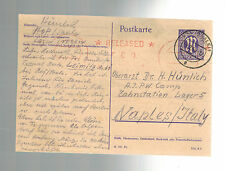 1946 Trogen Germany DP to Naples Italy Prisoner of War Camp POW Postcard Cover
