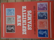ROYAL MAIL A4  POST OFFICE POSTER 1983 NEW MACHIN DEFINITIVE STAMPS