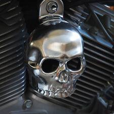 Polished aluminum skull horn cover.  Harley Davidson. SKU-H2