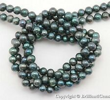WE SELL QUALITY!  4mm - 5mm EMERALD GREEN FRESHWATER PEARLS - Smooth and Shiny