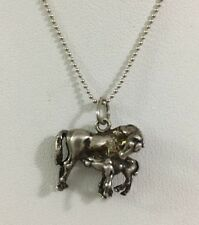 Sterling Silver Mare Foal Pendant Necklace Horse Antiqued