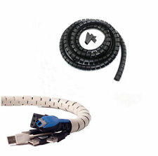 1.5M Flexible Spiral Cable Cord Power Wire Management Organizer Wrap with Clip