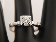 Estate Platinum VINTAGE  Round Diamond Engagement Ring E/SI1 eye clean  .74 tcw