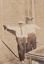 Old Vintage Photograph Two Men Wearing Hats Cigar in Mouth Great Outfits