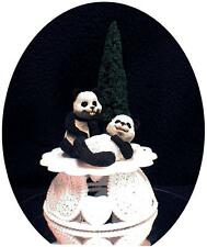 Playful Panda Bear Wedding Cake Topper Evergreen Tree Top outdoor funny