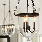 3 Lights Rustic Chandelier Loft Bar Cafe Pendant Light Glass Shade Ceiling Lamp