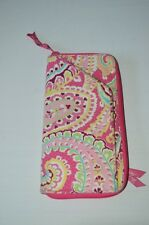 "Vera Bradley Capri Melon Zip Around Wallet 9.5"" Coupon Organizer Clutch Paisley"