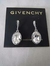 Givenchy nickle free silver~oval swarovski crystal drop earrings, NWT