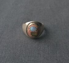 Fine quality solid 925 Sterling silver Mexican Opal ring size U 1/2 makers stamp