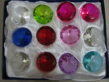 12 Crystal Diamond Cut Multi Colour Glass Gem Stones Paperweight  Gift 4.5cm