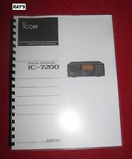 High Quality IC-7200 Instruction Manual **On 32 LB PAPER**w/The Heavier Covers!!