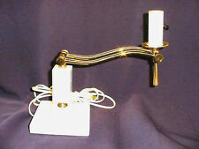 ADJUSTABLE SWIVEL~BRASS w MARBLE~TABLE LAMP *NO SHADE*