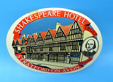 Vintage Shakespeare Hotel Stratford-On-Avon Luggage Decal / Tag
