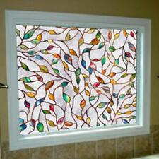 Decorative Stained Glass Frosted Window Film Privacy Block UV Color Leaves