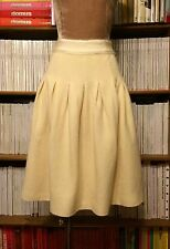 GIAMBATTISTA VALLI wool skirt cream white full IT40-IT42 UK8-10 high waist