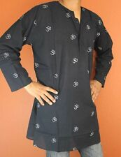 Shirt Tunic Kurta Om Symbol Handmade 100% Soft Cotton Gorgeous Black Medium
