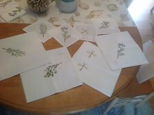 4 Embroidered Herb Napkins + 4 Cocktail Napkins NWT Saks Fifth Ave. + Towel