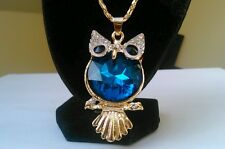 Cute BOHEMIAN teal blue glass rhinestones crystal OWL golden LONG NECKLACE GIFT