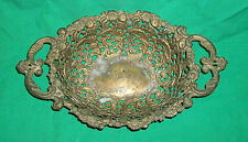 VICTORIAN EDWARDIAN BRASS BRONZE BOWL SERVING BASKET ELEGANT VTG HEAVY METAL FC