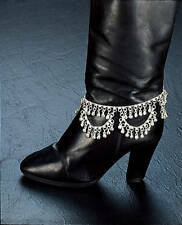 "SILVER TONE COIN 12"" BOOT ANKLE BRACELET ANKLET BRIGHT BELLS INDIA BELLY DANCE"
