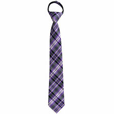 New Kids Boys Zipper up Adjustable Pre-tied Necktie Lavender Navy Ivory plaid