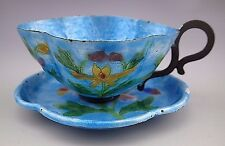 Antique Chinese Export Copper Metal Enamel Floral Blue Tea Cup and Saucer