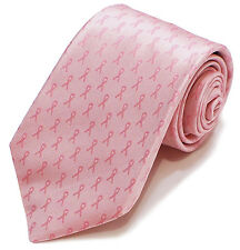 ❤ Breast Cancer Awareness Pink Ribbon Big Knot Tie ❤ Franklin 7 Fold necktie