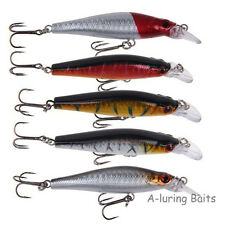 Floating Diving Plug Minnow Lure Hard Bait Crank Bait Fishing Tackle 80mm 10g