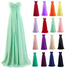 Simple Long Chiffon Strapless Wedding Party Bridesmaid Dresses Evening Prom Gown
