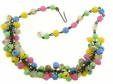 Vintage Japan Chunky Brass Fruit Salad Dimple Glass Pearl Coated Chic Necklace