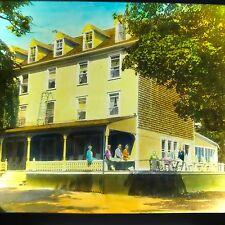 Vtg Magic Lantern Glass Slide Photo Pretty Large Home Nova Scotia 1920s Color