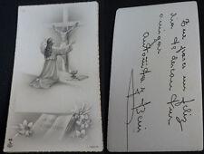 ESTAMPA HOLY CARD VIRGEN MARIA Y JESUCRISTO EN LA CRUZ AMO CHRISTUM  CC1481