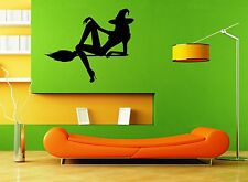 Wall Stickers Vinyl Decal  Hot Sexy Female Beauty Halloween Witch Broom ig099