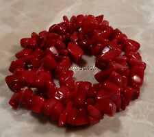 Coral Natural Sardinia Red Bead Strand Chip  5/6MM 16""