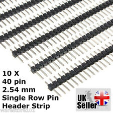 "10 x 40 Pin Header Strip Pins PCB 0.1"" 2.54mm for Arduino Kit, Breadboard - UK"